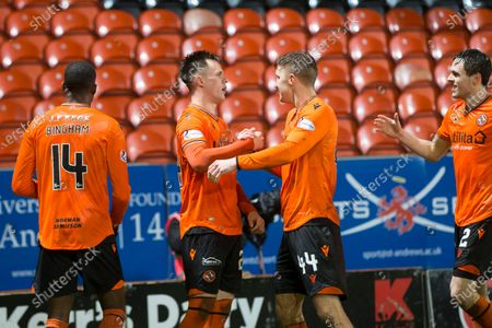 21st February 2020; Tannadice Park, Dundee, Scotland; Scottish Championship Football, Dundee United versus Inverness Caledonian Thistle; Lawrence Shankland of Dundee United is congratulated after scoring for 2-1 in the 58th minute by Paul Watson