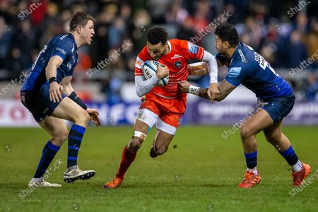 21st February 2020; AJ Bell Stadium, Salford, Lancashire, England; Premiership Rugby, Sale Sharks versus Leicester Tigers; Kyle Eastmond of Leicester Tigers is tackled by Denny Solomona of Sale Sharks