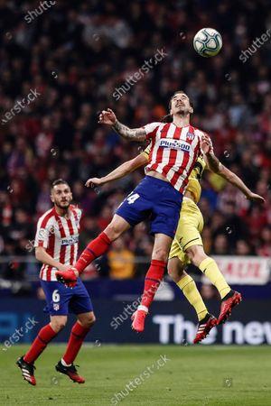 23rd February 2020; Wanda Metropolitano Stadium, Madrid, Spain; La Liga Football, Atletico de Madrid versus Villarreal; Sime Vrsaljko (Atletico de Madrid)  wins the header from Moi Gómez (Villerreal CF)
