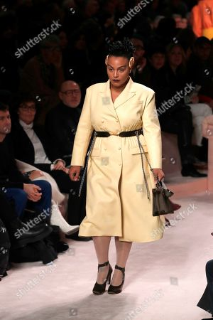 Paloma Elsesser wears a creation as part of Fendi's Fall/Winter 2020/2021 collection, presented in Milan, Italy