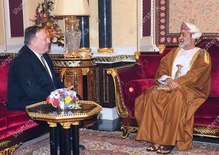 Stock Photo of Sultan Haitham bin Tariq Sultan of Oman (R) with US Secretary of State Mike Pompeo (L) attends their meeting in Muscat, Oman, 21 February 2020. Pompeo is in on an official visit to Oman.