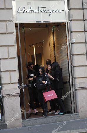 Camila Mendes and boyfriend leave the Salvatore Ferragamo boutique