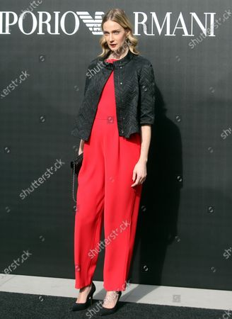 Italian model Eva Riccobono poses upon arrival for the fashion show by Emporio Armani during the Milan Fashion Week, in Milan, Italy, 21 February  2020. The Fall-Winter 2020 Women's collections are presented at the Milano Moda Donna from 18 to 24 February 2020.