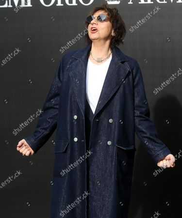 Italian musician Gianna Nannini poses upon arrival for the fashion show by Emporio Armani during the Milan Fashion Week, in Milan, Italy, 21 February  2020. The Fall-Winter 2020 Women's collections are presented at the Milano Moda Donna from 18 to 24 February 2020.