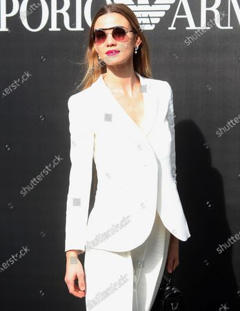 Stock Picture of Italian TV presenter Fiammetta Cicogna poses upon arrival for the fashion show by Emporio Armani during the Milan Fashion Week, in Milan, Italy, 21 February  2020. The Fall-Winter 2020 Women's collections are presented at the Milano Moda Donna from 18 to 24 February 2020.