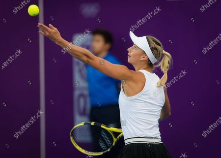 Barbara Haas of Austria during her qualifications match at the 2020 Qatar Total Open WTA Premier 5 tennis tournament