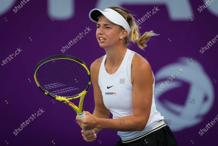Stock Photo of Barbara Haas of Austria during her qualifications match at the 2020 Qatar Total Open WTA Premier 5 tennis tournament