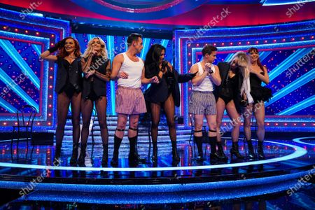 Stock Photo of The Pussycat Dolls - Nicole Scherzinger, Ashley Roberts, Kimberly Wyatt, Melody Thornton and Carmit Bachar with Anthony McPartlin and Declan Donnelly