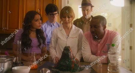 Stock Photo of Jessica Parker Kennedy as Babysitter, Quinn Beswick as Hugh, Stephanie Drake as Dr. Bunny, Josh Margolin as Detective Cross and Chris Redd as Jace