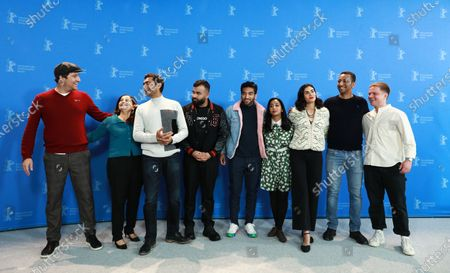 Producer Bennett McGhee, actress Sudha Bhuchar, actor Alyy Khan, actor Hussain Manawer, actor Nabhaan Rizwan, actress Anjana Vasan, actress Aiysha Hart, producer Thomas Benski, and producer Michael Peay pose  during the 'Mogul Mowgli' photocall at the 70th annual Berlin International Film Festival (Berlinale), in Berlin, Germany, 21 February 2020. The movie is presented in the Official Competition at the Berlinale that runs from 20 February to 01 March 2020.