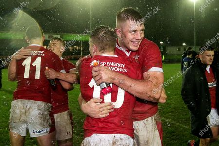 Wales U20 vs France U20. Wales' Sam Costelow celebrates with Ben Carter after the game