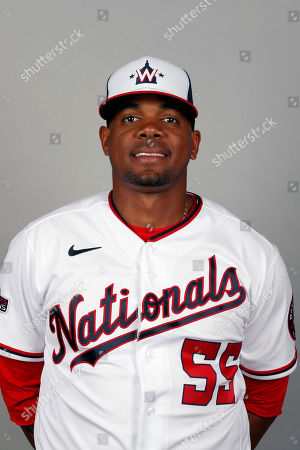 This is a 2020 photo of Roenis Elias of the Washington Nationals baseball team. This image reflects the Nationals active roster as of, when this image was taken