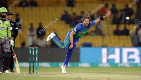 Shahid Afridi of Lahore Qalandars in action during the Pakistan Super League (PSL) T20 series cricket match between Lahore Qalandars and Multan Sultans, in Lahore, Pakistan, 21 February 2020.