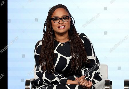 """Stock Image of Ava DuVernay speaks at the OWN: Oprah Winfrey Network's """"Cherish the Day"""" series panel during the Discovery Network TCA 2020 Winter Press Tour in Pasadena, Calif. The series, airing at 10 p.m. EST Tuesday, follows a Los Angeles couple's relationship over eight episodes that span five years. Xosha Roquemore and Alano Miller star in the network's first anthology series, created by filmmaker and TV producer DuVernay"""
