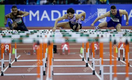 Stock Picture of Taio Kanai from Japan, centre, races during the Men's 60m Hurdles during the World Athletics Indoor Tour meeting in Madrid, Spain