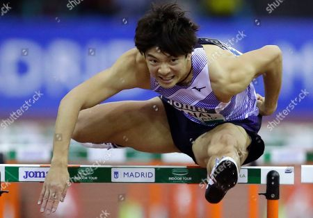 Taio Kanai from Japan races during the Men's 60m Hurdles during the World Athletics Indoor Tour meeting in Madrid, Spain