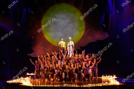 Luke Brady (Moses), Liam Tamne (Ramses) and the ensemble in a scene from 'Prince of Egypt'