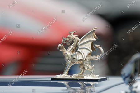 A Welsh Dragon on the bonnet of the 1960 Aston Martin DB6 Volante owned by Prince Charles