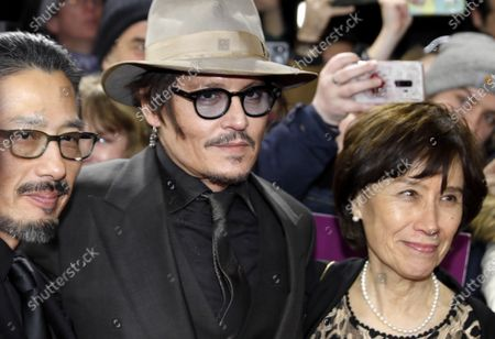 Hiroyuki Sanada, Johnny Depp, and Johnny Depp arrive for the premiere of 'Minamata' during the 70th annual Berlin International Film Festival (Berlinale), in Berlin, Germany, 21 February 2020. The movie is presented in the Berlinale Special section at the Berlinale that runs from 20 February to 01 March 2020.