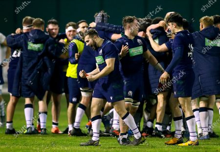 Stock Image of Italy U20 vs Scotland U20. Scotland's Alex Maxwell celebrates at the final whistle
