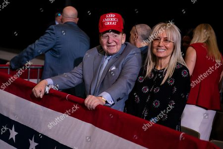 Businessman and Republican donor Sheldon Adelson waits for the arrival of President Donald Trump to a campaign rally at the Las Vegas Convention Center, in Las Vegas