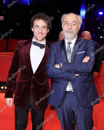 Giorgio Diritti (R) and Elio Germano  (L) arrive for the premiere of 'Volevo Nascondermi (Hidden Away)' during the 70th annual Berlin International Film Festival (Berlinale), in Berlin, Germany, 21 February 2020. The movie is presented in the Official Competition at the Berlinale that runs from 20 February to 01 March 2020.