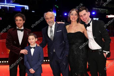 Elio Germano, Leonardo Carrozzo, director Giorgio Diritti, Tania Pedroni and Oliver Ewy arrive for the premiere of 'Volevo Nascondermi (Hidden Away)' during the 70th annual Berlin International Film Festival (Berlinale), in Berlin, Germany, 21 February 2020. The movie is presented in the Official Competition at the Berlinale that runs from 20 February to 01 March 2020.