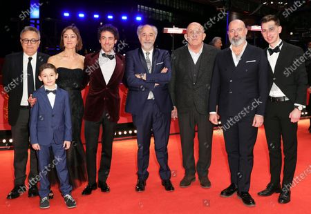 Paolo Del Brocco, Leonardo Carrozzo, Tania Pedroni, Elio Germano, director Giorgio Diritti, Carlo degli Esposti, an unidentified man, and Oliver Ewy arrive for the premiere of 'Volevo Nascondermi (Hidden Away)' during the 70th annual Berlin International Film Festival (Berlinale), in Berlin, Germany, 21 February 2020. The movie is presented in the Official Competition at the Berlinale that runs from 20 February to 01 March 2020.