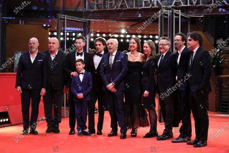Giorgio Diritti (5-L), writer Tania Pedroni (5-R), producer Carlo Degli Esposti (2-L), Oliver Ewy (3-L, back), Elio Germano (3-L, front), Leonardo Carrozzo (4-L), Berlinale managing director Mariette Rissenbeek (4-R), Berlinale artistic director Carlo Chatrian (2-R), and producers Paolo Del Brocco (3-R) and Nicola Serra (R) arrive for the premiere of 'Volevo Nascondermi (Hidden Away)' during the 70th annual Berlin International Film Festival (Berlinale), in Berlin, Germany, 21 February 2020. The movie is presented in the Official Competition at the Berlinale that runs from 20 February to 01 March 2020.