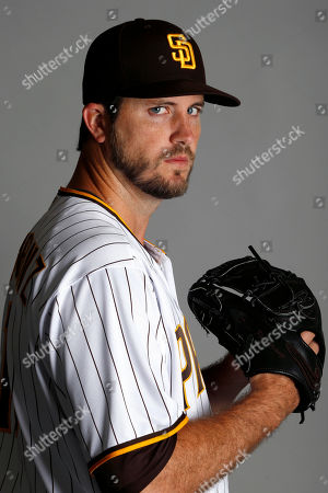 San Diego Padres pitcher Drew Pomeranz poses for a photo during the team's spring training photo day, in Peoria, Ariz