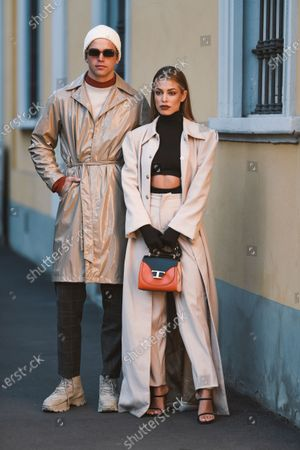 Editorial image of Street style, Fall Winter 2020, Milan Fashion Week, Italy - 21 Feb 2020