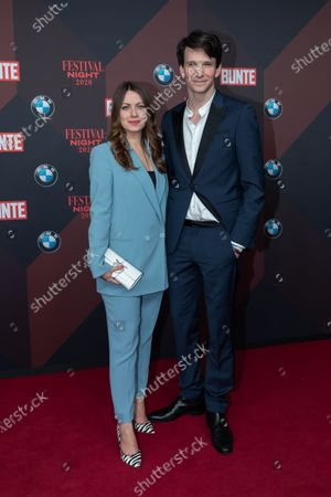 Stock Image of Alice Dwyer (L) and German actor Sabin Tambrea (R) pose at the red carpet of Festival Night by Bunte and BMW as a part of Berlinale in Berlin, Germany, 21 February 2020.
