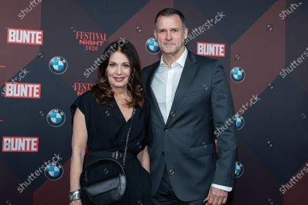 Iris Berben and actor Heiko Kiesow pose at the red carpet of Festival Night by Bunte and BMW as a part of Berlinale in Berlin, Germany, 21 February 2020.