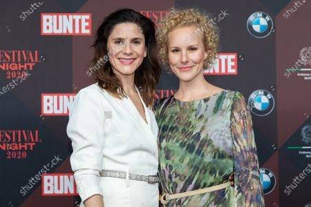 Stock Picture of Christina Hecke (L) and her wife Stefanie Henn (R) poses at the red carpet of Festival Night by Bunte and BMW as a part of Berlinale in Berlin, Germany, 21 February 2020.