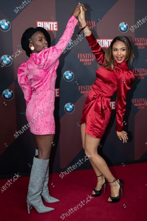Nikeata Thompson (L) and Swiss TV presenter Alexandra Maurer (R) pose at the red carpet of Festival Night by Bunte and BMW as a part of Berlinale in Berlin, Germany, 21 February 2020.