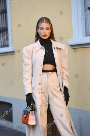 Editorial picture of Street Style, Fall Winter 2020, Milan Fashion Week, Italy - 21 Feb 2020