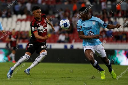 Stock Photo of Brayan Trejo (L) of Atlas in action against Oscar Murillo (R) of Pachuca during the Clausura Tournament soccer match between Atlas and Pachuca at Jalisco Stadium in Guadalajara, Mexico, 21 February 2020.
