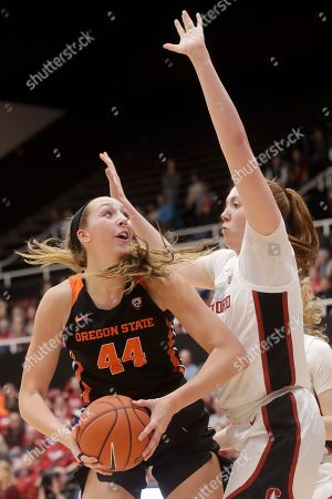 Oregon State forward Taylor Jones (44) is defended by Stanford forward Ashten Prechtel during the first half of an NCAA college basketball game in Stanford, Calif