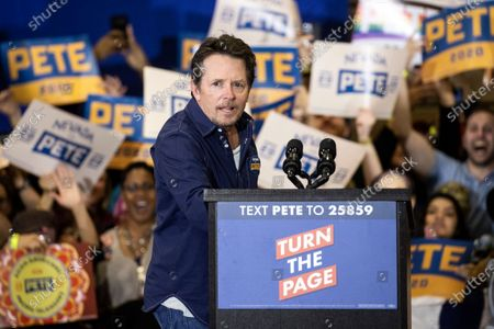 US-Canadian actor Michael J. Fox delivers a speech on stage during a campaign rally held by US Democratic Party presidential candidate and former South Bend Mayor Pete Buttigieg at Faiss Middle School in Las Vegas, Nevada, USA, 21 February 2020. The Nevada caucus will be held on 22 February.
