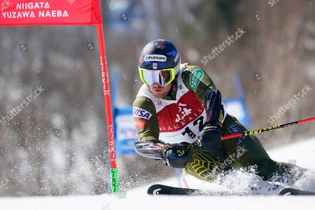 Ted Ligety of the United States competes in the men's giant slalom during the FIS Alpine Ski World Cup at Naeba Ski Resort in Yuzawa, Niigata prefecture, northern Japan