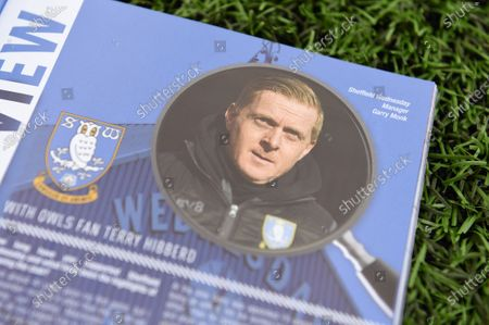 Stock Photo of A preview inside the match day programme showing an image of ex Birmingham City manager Gary Monk.