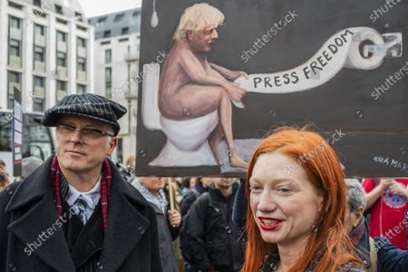 Joseph Corré is a British activist and businessman, who co-founded Agent Provocateur in front of the latest satirical work by Kaya Mar - Don't Extradite Assange Campaign, march and rally from Australia House to Parliament Square.