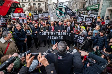 Greek economist Yanis Varoufakis, John Shipton, Julian Assange's father, and Vivienne Westwood and others - Don't Extradite Assange Campaign, march and rally from Australia House to Parliament Square.