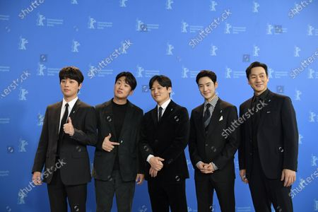 Park Jeong-min, Ahn Jae-hong, director Yoon Sung-hyun, Lee Je-hoon and Park Heo-soo pose during the 'Sa-Nyang-Eui-Si-Gan' photocall during the 70th annual Berlin International Film Festival (Berlinale), in Berlin, Germany, 22 February 2020. The movie is presented in the Berlinale Special section at the Berlinale that runs from 20 February to 01 March 2020.
