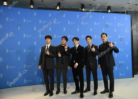 Stock Picture of Park Jeong-min, Ahn Jae-hong, director Yoon Sung-hyun, Lee Je-hoon and Park Heo-soo pose during the 'Sa-Nyang-Eui-Si-Gan' photocall during the 70th annual Berlin International Film Festival (Berlinale), in Berlin, Germany, 22 February 2020. The movie is presented in the Berlinale Special section at the Berlinale that runs from 20 February to 01 March 2020.