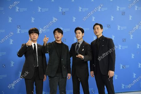 Actors Park Jeong-min, Ahn Jae-hong, Lee Je-hoon and Park Heo-soo pose during the 'Sa-Nyang-Eui-Si-Gan' photocall during the 70th annual Berlin International Film Festival (Berlinale), in Berlin, Germany, 22 February 2020. The movie is presented in the Berlinale Special section at the Berlinale that runs from 20 February to 01 March 2020.