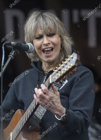 Chrissie Hynde performing in Parliament Square during the Wikileaks founder Juilan Assange protest march and rally through central London on Saturday.