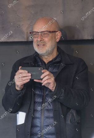 The musician Brian Eno at the Wikileaks founder Juilan Assange protest march and rally through central London on Saturday.