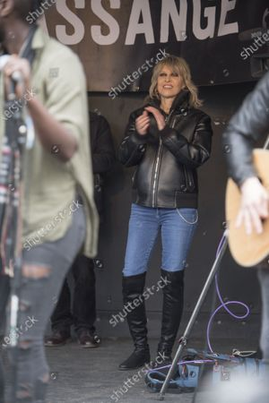 Chrissie Hynde dancing on the Parliament Square stage during the Wikileaks founder Juilan Assange protest march and rally through central London on Saturday.