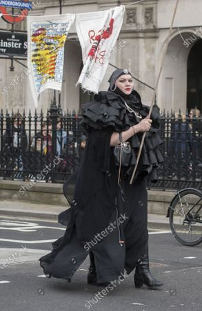 Stock Image of Daniel Lismore at the Wikileaks founder Juilan Assange protest march and rally through central London on Saturday.